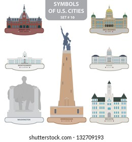 Symbols of US cities. Set 10. Vector for you design