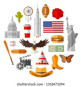 Symbols of usa in flat style. Traditional American attributes, souvenirs and accessories. Set of vector isolated icons on white background.