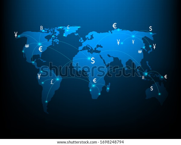 Symbols used by the currency exchange network and money transfer transactions
