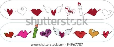 Symbols Valentines Isolated Symbols Valentines Day Signs Stock