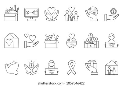 Symbols of volunteers and charities organisations. Monolines icons set. Vector donate money, giving and support, nonprofit voluntary illustration