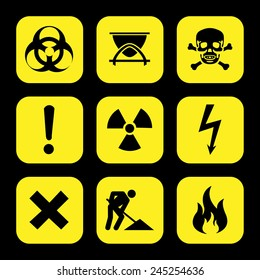 symbols warning hazard icons set great for any use. Vector EPS10.