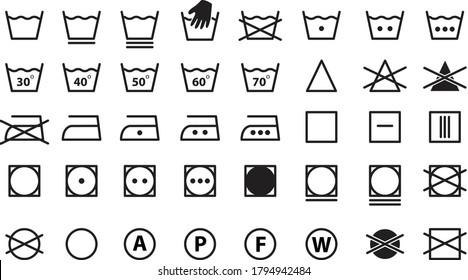 Symbols of washable. Full icon set of laundry symbols, hand wash, washing machine, label, iron, caring. Icons for washing. Vector illustration.