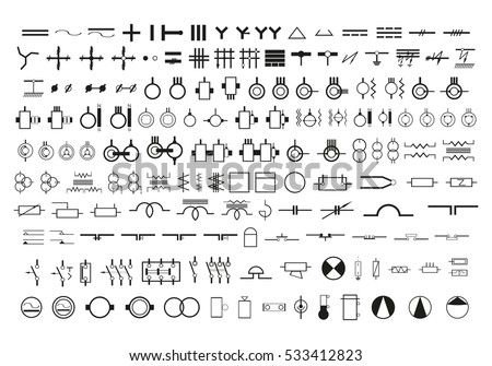 symbols wiring diagrams set vector icons stock vector royalty free rh shutterstock com lenze 8200 vector wiring diagram microvector wiring diagram