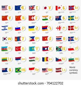 Symbols world money with national county flags. Vector currency exchange icons collection.