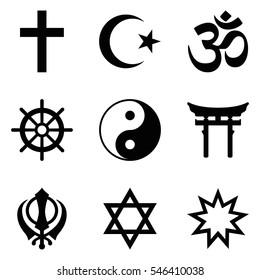 Symbols of World religions. Nine signs of major religious groups and principle religions. Christianity, Islam, Hinduism, Buddhism, Taoism, Shinto, Sikhism, Judaism, Bahai Faith. Illustration. Vector.