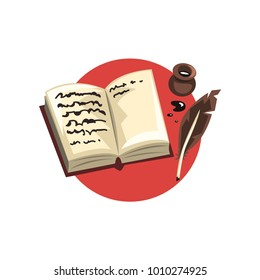 Symbols of the writer profession, vintage quill, ink and book cartoon vector Illustration