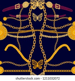 Symmetric Art Deco style print with buttereflies. Seamless vector pattern with chains and golden coins. Vintage textile collection. On black background.