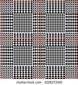 Symmetric checkered hounds tooth print for suits and coats. Seamless vector pattern with grey geometric elements. Textile design with English motifs. Spring collection.