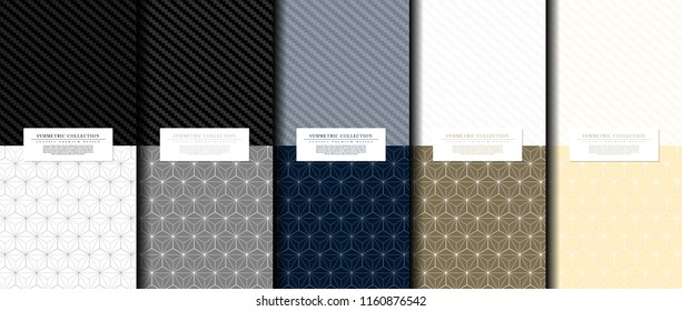 Symmetric collection abstract pattern hexagonal geometic navy blue background card template vector design