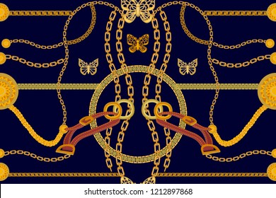 Symmetric golden print.  Seamless vector pattern with straps, chains and coins. Vintage textile collection. On black  background.