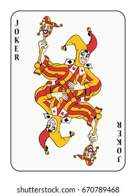 Symmetric joker playing card with red and golden costume