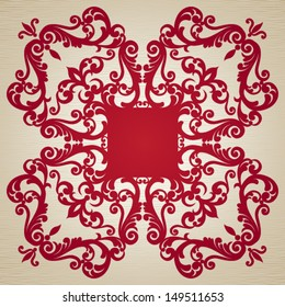 Symmetric ornament frame in Victorian style. Element for design. It can be used for decorating of invitations, greeting cards, decoration for bags and clothes.