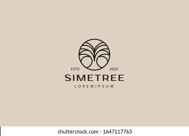 Symmetrical abstract tree logo. illustration of a dry tree with many branches in a circle. vector line icon template