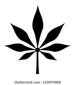 Symmetrical arrangement cannabis leaf