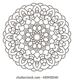 Symmetrical circular pattern mandala. Coloring page for adults. Turkish, Islamic, Oriental ornament.