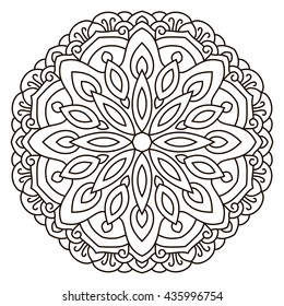Symmetrical circular pattern mandala. Coloring page for adults. Turkish, Islamic, Oriental ornament