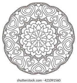 Symmetrical circular pattern mandala. Oriental ornament. Coloring page for adults. Turkish, Islamic, Oriental, Greek, Indian style.