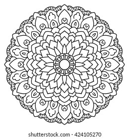 Symmetrical circular pattern mandala. Oriental ornament. Coloring page for adults. Turkish, Islamic, Oriental style.