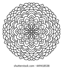 Symmetrical circular pattern mandala. Oriental pattern. Coloring page for adults.