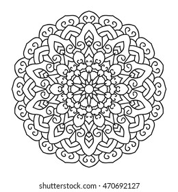 Symmetrical circular pattern mandala, outline on a white background. Coloring book for adults.