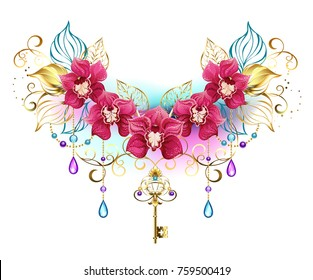 Symmetrical composition of exotic pink orchids with golden leaves and gold chains, decorated with purple and turquoise beads on white background.