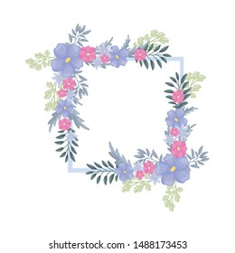 Symmetrical floral arrangements in the corners of the frame. Vector illustration on a white background.