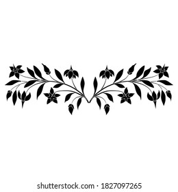 Symmetrical floral ornament. Two branches of nightshade plant. Botanical border. Black and white silhouette.