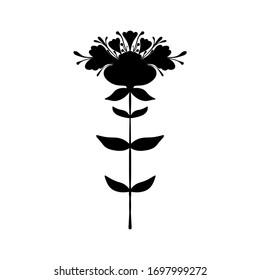 Symmetrical flower in ethnic style. Black silhouette. Summer, spting decorative floral element for cards, poster, scrapbook, textile design