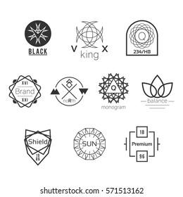 Symmetrical Geometric Black Vector Badges Logos Set