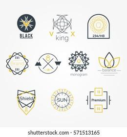 Symmetrical Geometric Vector Badges Logos Set
