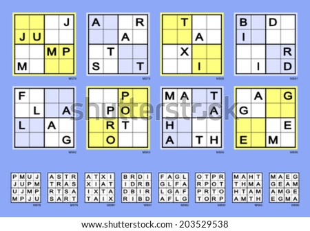 symmetrical mini sudoku words vector set supereasy stock vector