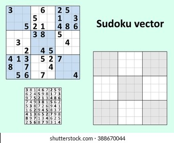 Symmetrical Sudoku with answers. Vector set. Blank template.