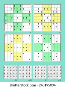 Symmetrical Sudoku. Reflective. Vector set n.78. Easy, moderate, hard, very hard. 29, 27, 27, 25 clues.