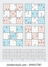 Symmetrical Sudoku. Vector set n.60. Easy. 25, 24, 23, 22 clues.