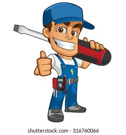Sympathetic electrician, he will dress in work clothes and carrying different tools