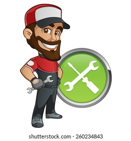 Sympathetic mechanic with a wrench in his hand and a cap