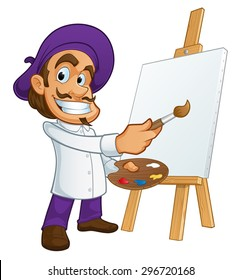 Sympathetic painter, he is taking a brush and a palette