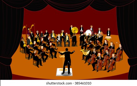 Symphonic orchestra with conductor on theatre