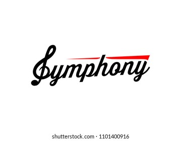 Symphony Logo, Emblem for Music company, studio, store, school, orchestra. Vector illustration in EPS10.