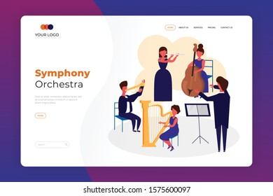 Symphony Orchestra Playing Classical Music at Concert Landing Page Design. Conductor and Musicians with Instruments Performing on Stage Concept Vector Illustratiob. Symphony Web Page And Banner