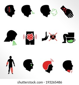 Symptoms of allergy and other diseases as flat icons / Solid fill icons in EPS 8 format