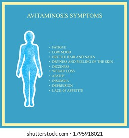 The symptoms of avitaminosis.Vector illustration for medical journal or brochure.