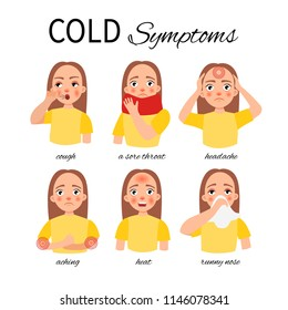 Symptoms of a cold. A girl with cold symptoms - fever, aches, headache, sore throat, runny nose, cough.