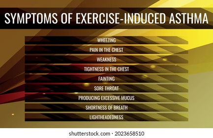 symptoms of Exercise-induced asthma. Vector illustration for medical journal or brochure.