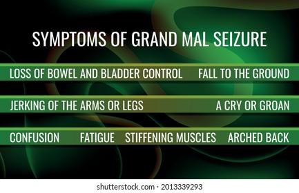symptoms of Grand mal seizure. Vector illustration for medical journal or brochure.