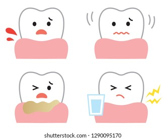 symptoms of gum disease: bleeding, sensitivity, loose, and pus. oral and dental care concept