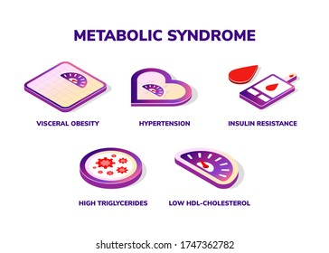Symptoms of Metabolic Syndrome vector isometric icon concept. Hypertension, Insulin Resistance, High Triglycerides, Low HDL-Cholesterol, Visceral Obesity