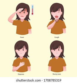 Symptoms of a viral infection and respiratory illness - Coronavirus COVID-19. Vector illustration in cartoon style