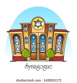 Synagogue building or jewish temple. Town or city religious landscape. Facade or front of jew worship place. Hebrew or judaism construction with David star. Architecture and religion theme. Synagog